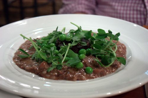 The vanderbilt risotto with boudin noir & peas