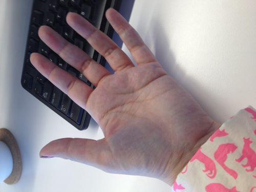 April blue hand